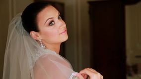 Beautiful Bride Preparing For Wedding Ceremony stock footage