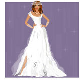 Beautiful bride on a purple background Royalty Free Stock Image