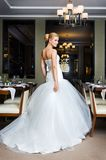 Beautiful bride in the restaurant Royalty Free Stock Photos