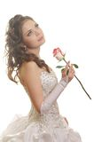 Beautiful  bride with rose. Portrait of beautiful  bride with rose Royalty Free Stock Photos