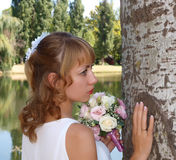 Beautiful bride with roses Royalty Free Stock Photo