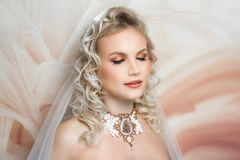 Woman wedding make up hair royalty free stock photography