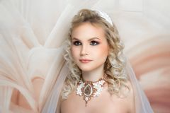 Woman wedding make up hair stock photos