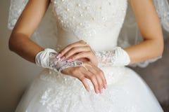 Beautiful bride's hands Stock Photos