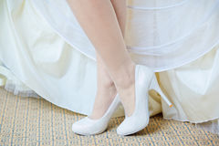 Beautiful bride's shoes Royalty Free Stock Photos