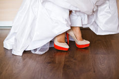 Beautiful bride's shoes Stock Image
