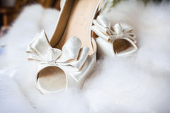Beautiful bride's shoes Royalty Free Stock Image