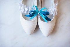 beautiful bride's shoes Stock Photo