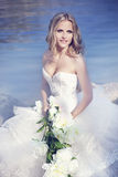 Beautiful bride. On the sea shore Royalty Free Stock Images