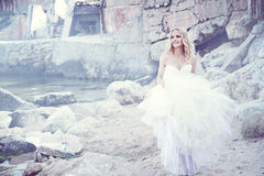 Beautiful bride. On the sea shore Stock Image