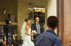 The beautiful bride in showcase. Stock Images