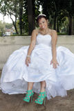 Beautiful Bride Shows Her New Shoes Stock Photography