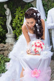 Beautiful bride sign up marriage certificate Stock Photos