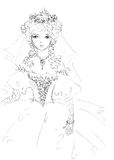 Beautiful bride sketch. Delicate young princess in wedding dress Royalty Free Stock Photos