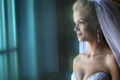 Beautiful bride at soft light Stock Images