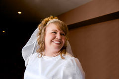 Beautiful Bride Split Light. A lovely bride looks away and smiles on her wedding day stock images