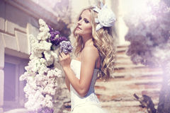 Beautiful bride. On the stairs Royalty Free Stock Photography