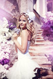 Beautiful bride. On the stairs Stock Images