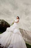Beautiful bride standing outdoors Royalty Free Stock Images