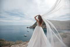 Beautiful bride in white dress posing on sea and mountains in background Royalty Free Stock Photos