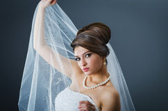 Beautiful bride in studio Royalty Free Stock Images