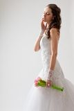 Beautiful bride studio half-length portrait Royalty Free Stock Images