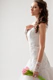 Beautiful bride studio half-length portrait Royalty Free Stock Photo