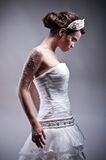 Beautiful bride studio portrait. Beautiful young bride studio portrait Stock Photo