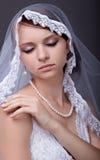 Beautiful bride in studio shooting. Beautiful bride with veil on head. Grey background Stock Photo