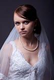 Beautiful bride in studio shooting. Portrait of beautiful bride with veil in studio shooting Stock Photo