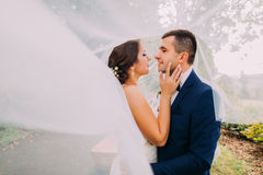 Beautiful bride and stylish groom going to kiss. Long bridal veil vawing in wind Stock Images