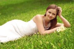 Beautiful bride with stylish make-up Stock Photo