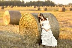 Beautiful bride at sunset stock photos