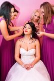 Beautiful Bride Together With 4 Bridesmaids In Violet Similar Dresses Stock Photo