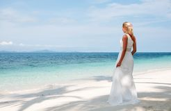 Beautiful bride  on tropical sea side background Royalty Free Stock Photography