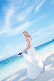 Beautiful bride  on tropical sea side background Royalty Free Stock Photos