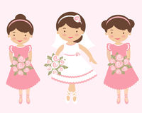 Beautiful bride with two bridesmaids Stock Image