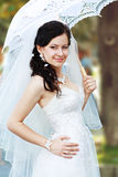 Beautiful bride umbrella Stock Photo