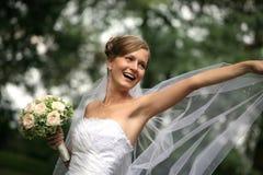 Beautiful bride with veil royalty free stock photos