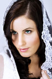 Beautiful bride with veil. Beautiful young bride with veil over her head Royalty Free Stock Photo
