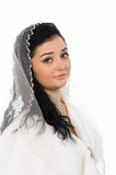 Beautiful bride with veil front view Royalty Free Stock Image