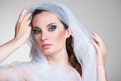 Beautiful bride with veil over her face. Beautiful bride portrait with veil over her face, wearing professional make-up Stock Photos