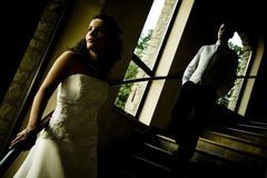 Beautiful bride wait her groom Royalty Free Stock Photo