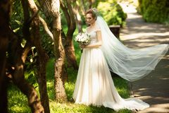 Beautiful bride walking in the park. Wedding veil disperse of wind. Beauty portrait of a bride around amazing nature royalty free stock images
