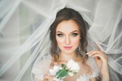 Beautiful bride wearing fashion wedding dress with feathers with luxury delight make-up and hairstyle, studio indoor Royalty Free Stock Photography