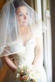 Beautiful Bride Wearing Wedding Dress Holding Bouquet Stock Photography