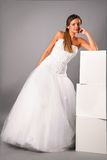 Beautiful bride wearing wedding dress in studio Stock Images