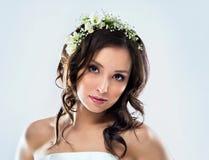 Beautiful bride wearing Royalty Free Stock Photography