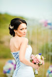 Beautiful bride with wedding bouquet Royalty Free Stock Images
