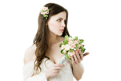 Beautiful bride with wedding bouquet Stock Photos